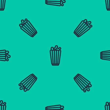 Blue line Popcorn in cardboard box icon isolated seamless pattern on green background. Popcorn bucket box. Vector Illustration.