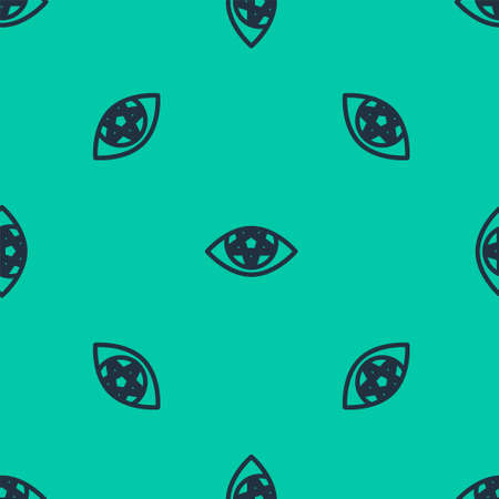 Blue line Pentagram icon isolated seamless pattern on green background. Magic occult star symbol. Vector Illustration.