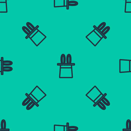 Blue line Magician hat and rabbit ears icon isolated seamless pattern on green background. Magic trick. Mystery entertainment concept. Vector Illustration. 일러스트