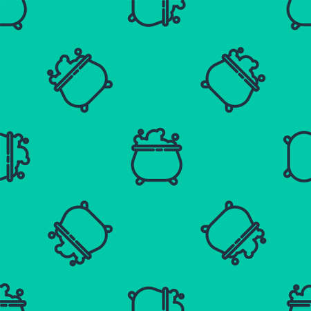 Blue line Witch cauldron icon isolated seamless pattern on green background. Happy Halloween party. Vector Illustration. Ilustração