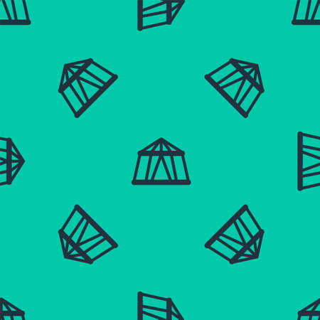 Blue line Circus tent icon isolated seamless pattern on green background. Carnival camping tent. Amusement park. Vector Illustration.