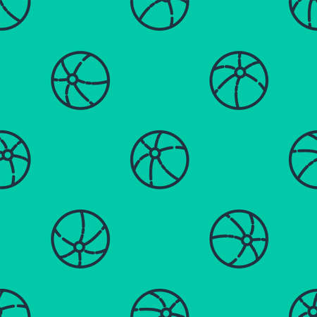 Blue line Beach ball icon isolated seamless pattern on green background. Vector Illustration.