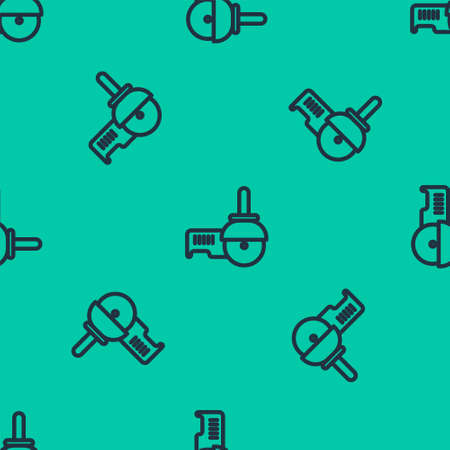 Blue line Angle grinder icon isolated seamless pattern on green background. Vector Illustration.