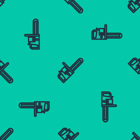 Blue line Chainsaw icon isolated seamless pattern on green background. Vector Illustration.