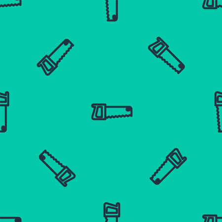 Blue line Hand saw icon isolated seamless pattern on green background. Vector Illustration. 矢量图像