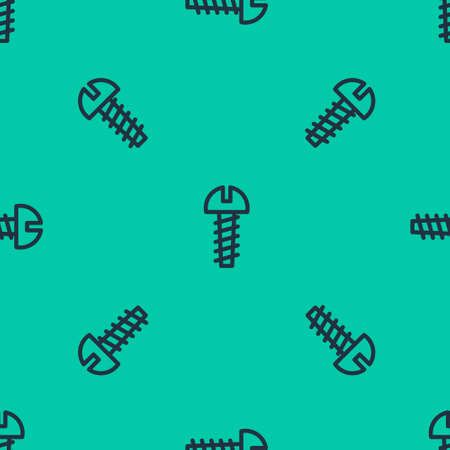 Blue line Metallic screw icon isolated seamless pattern on green background. Vector Illustration.