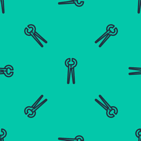 Blue line Pincers and pliers icon isolated seamless pattern on green background. Pincers work industry mechanical plumbing tool. Vector Illustration.