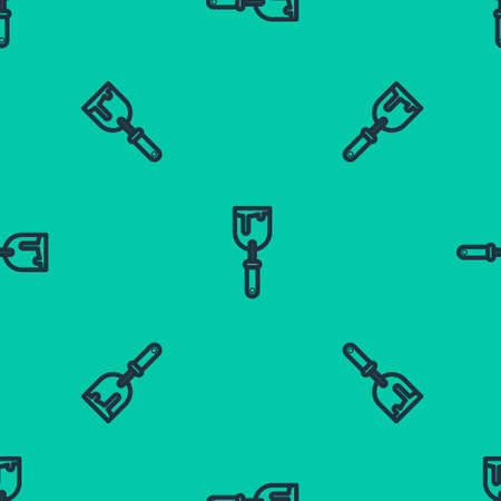 Blue line Putty knife icon isolated seamless pattern on green background. Spatula repair tool. Spackling or paint instruments. Vector Illustration. 向量圖像