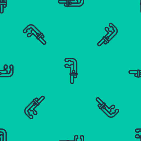 Blue line Clamp tool icon isolated seamless pattern on green background. Locksmith tool. Vector Illustration.