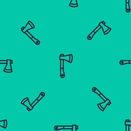 Blue line Wooden axe icon isolated seamless pattern on green background. Lumberjack axe. Vector Illustration. Ilustração