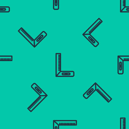 Blue line Corner ruler icon isolated seamless pattern on green background. Setsquare, angle ruler, carpentry, measuring utensil, scale. Vector Illustration.