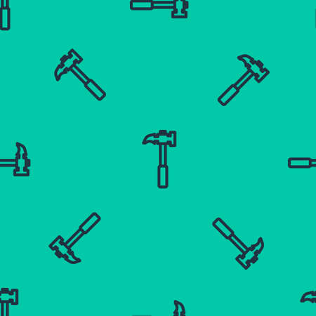 Blue line Claw hammer icon isolated seamless pattern on green background. Carpenter hammer. Tool for repair. Vector Illustration.
