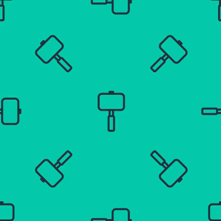 Blue line Sledgehammer icon isolated seamless pattern on green background. Vector Illustration.
