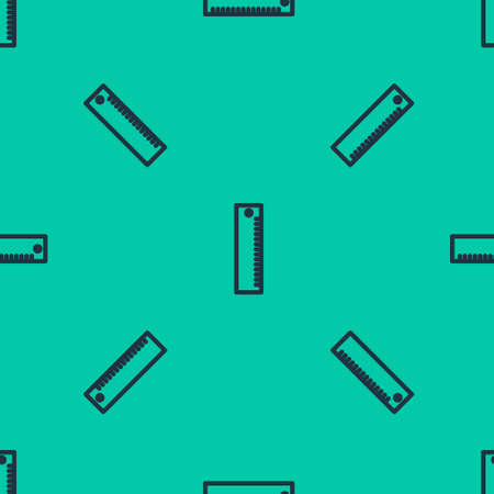 Blue line Ruler icon isolated seamless pattern on green background. Straightedge symbol. Vector Illustration.
