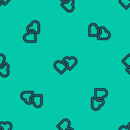 Blue line Two Linked Hearts icon isolated seamless pattern on green background. Romantic symbol linked, join, passion and wedding. Happy Women Day. Vector Illustration. Ilustração