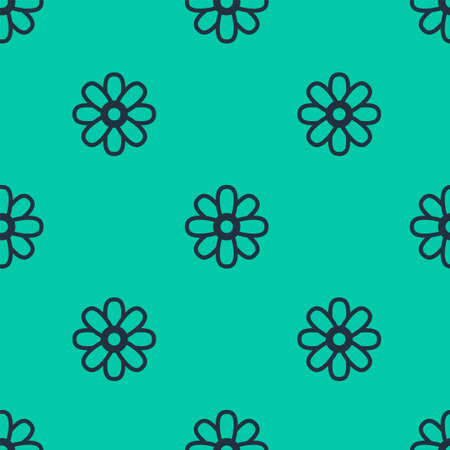 Blue line Flower icon isolated seamless pattern on green background. 8 March. International Happy Women Day. Vector Illustration. Ilustração