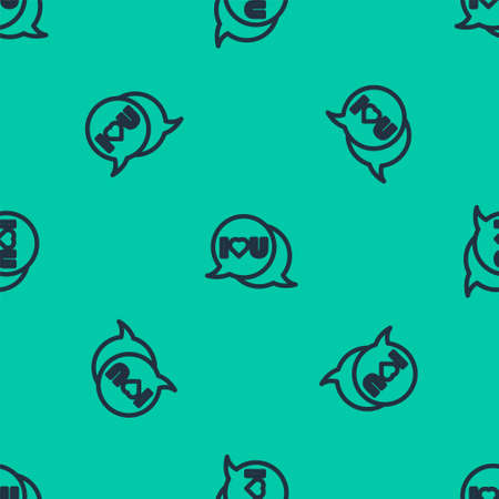 Blue line Speech bubble with text I love you icon isolated seamless pattern on green background. 8 March. International Happy Women Day. Vector Illustration. Ilustrace