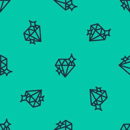 Blue line Diamond icon isolated seamless pattern on green background. Jewelry symbol. Gem stone. 8 March. International Happy Women Day. Vector Illustration. Ilustração