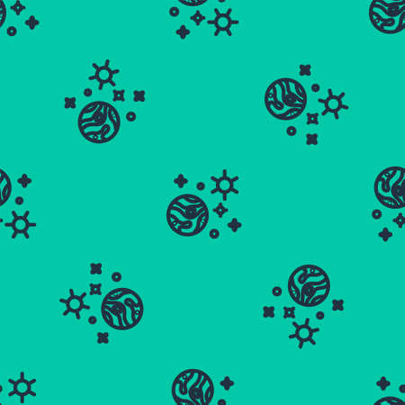 Blue line Space and planet icon isolated seamless pattern on green background. Planets surface with craters, stars and comets. Vector Illustration.