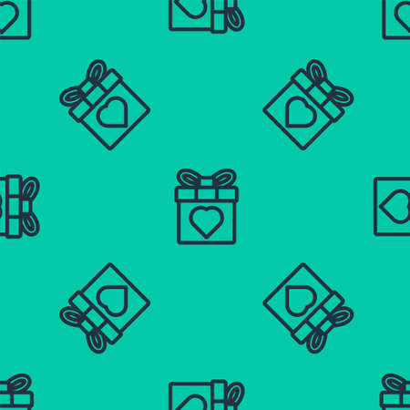 Blue line Gift box and heart icon isolated seamless pattern on green background. 8 March. International Happy Women Day. Vector Illustration.