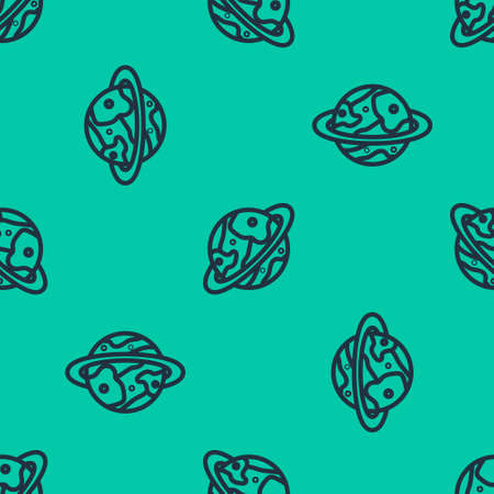 Blue line Space capsule returning to earth via parachute icon isolated seamless pattern on green background. Vector Illustration.