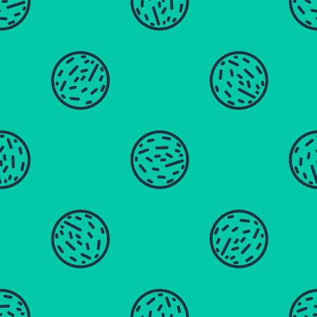 Blue line Planet Mars icon isolated seamless pattern on green background. Vector Illustration.