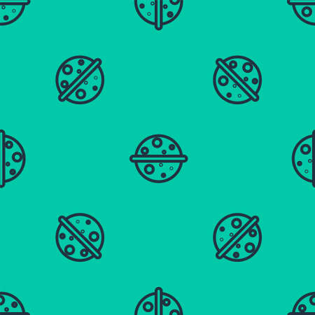 Blue line Planet Venus icon isolated seamless pattern on green background. Vector Illustration.