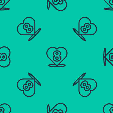 Blue line Heart with 8 March icon isolated seamless pattern on green background. Romantic symbol linked, join, passion and wedding. Happy Women Day. Vector Illustration.