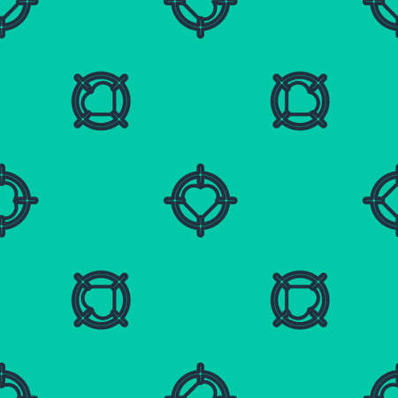 Blue line Heart in the center of darts target aim icon isolated seamless pattern on green background. International Happy Women Day. Vector Illustration.