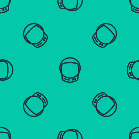 Blue line Astronaut helmet icon isolated seamless pattern on green background. Vector Illustration.