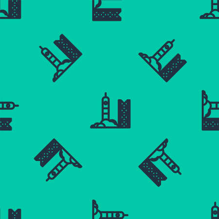 Blue line Rocket launch from the spaceport icon isolated seamless pattern on green background. Launch rocket in space. Vector Illustration.