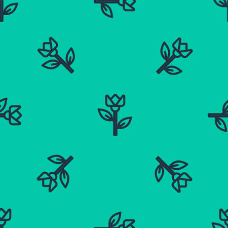 Blue line Flower tulip icon isolated seamless pattern on green background. Vector Illustration.
