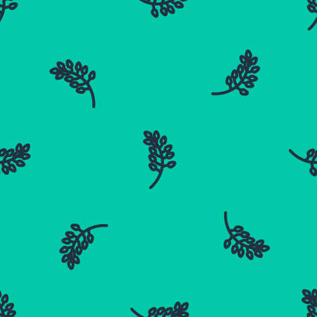 Blue line Willow leaf icon isolated seamless pattern on green background. Vector Illustration.