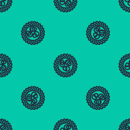 Blue line Easter egg in a wicker nest icon isolated seamless pattern on green background. Happy Easter. Vector Illustration.