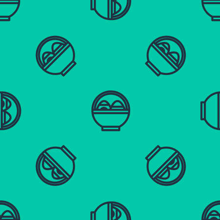Blue line Basket with easter eggs icon isolated seamless pattern on green background. Happy Easter. Vector Illustration.