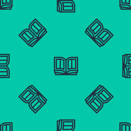 Blue line Holy bible book icon isolated seamless pattern on green background. Vector Illustration. Ilustração
