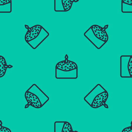 Blue line Easter cake and candle icon isolated seamless pattern on green background. Happy Easter. Vector Illustration.