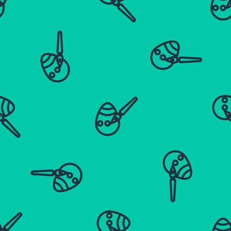 Blue line Easter egg and paint brush icon isolated seamless pattern on green background. Happy Easter. Vector Illustration.