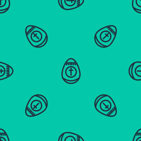 Blue line Easter egg icon isolated seamless pattern on green background. Happy Easter. Vector Illustration. 向量圖像