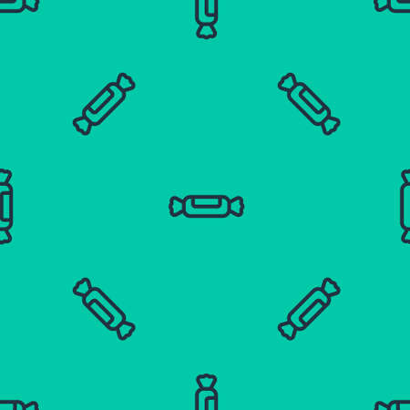 Blue line Candy icon isolated seamless pattern on green background. Vector Illustration.