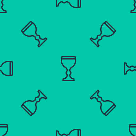 Blue line Wine glass icon isolated seamless pattern on green background. Wineglass icon. Goblet symbol. Glassware sign. Happy Easter. Vector Illustration.