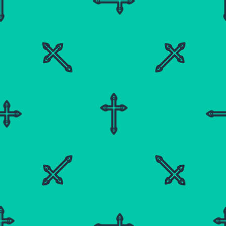 Blue line Christian cross icon isolated seamless pattern on green background. Church cross. Vector Illustration.