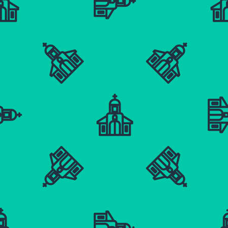 Blue line Church building icon isolated seamless pattern on green background. Christian Church. Religion of church. Vector Illustration.