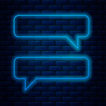 Glowing neon line Speech bubble chat icon isolated on brick wall background. Message icon. Communication or comment chat symbol. Vector Illustration. Çizim