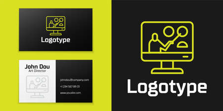 Logotype line Online education and graduation icon isolated on black background. Online teacher on monitor. Webinar and video seminar learning. Logo design template element. Vector Illustration.
