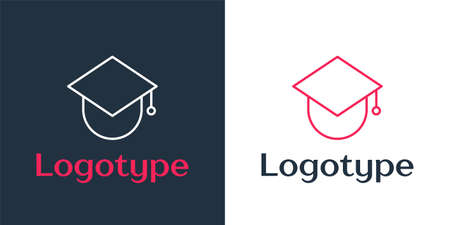 Logotype line Graduation cap on globe icon isolated on white background. World education symbol. Online learning or e-learning concept. Logo design template element. Vector Illustration. Ilustrace