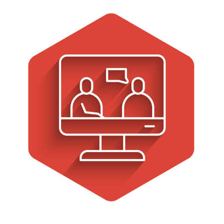 White line Online education and graduation icon isolated with long shadow. Online teacher on monitor. Webinar and video seminar learning. Red hexagon button. Vector Illustration.