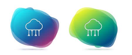 Set line Network cloud connection icon isolated on white background. Social technology. Cloud computing concept. Abstract banner with liquid shapes. Vector Illustration.