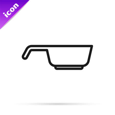 Black line Frying pan icon isolated on white background. Fry or roast food symbol. Vector.