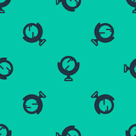 Blue line Round makeup mirror icon isolated seamless pattern on green background. 8 March. International Happy Women Day. Vector Illustration. Stock fotó - 151153623